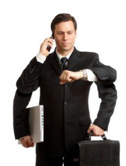 Multi-Task Geschäftsmann mit vier Armen