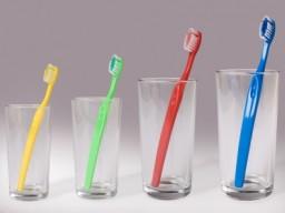 4 Zahnbürsten in je einem eigenen Glas